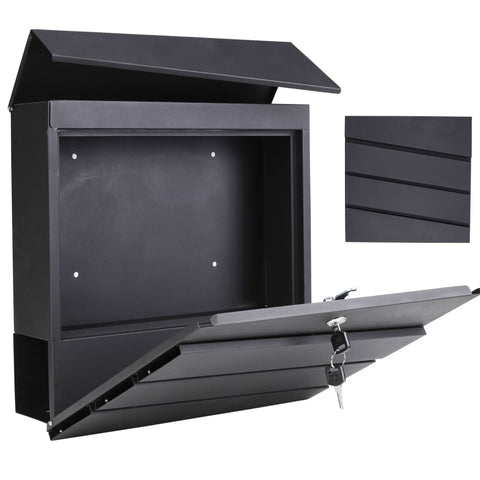 HI Letter Box Galvanised Iron Black 37x10.5x37 cm