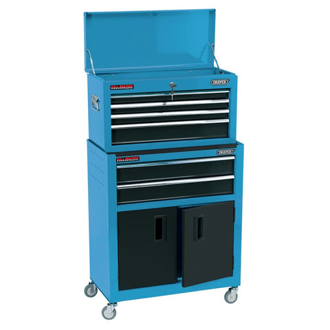 Draper Tools Combo Roller Cabinet and Tool Chest 61.6x33x99.8 cm Blue