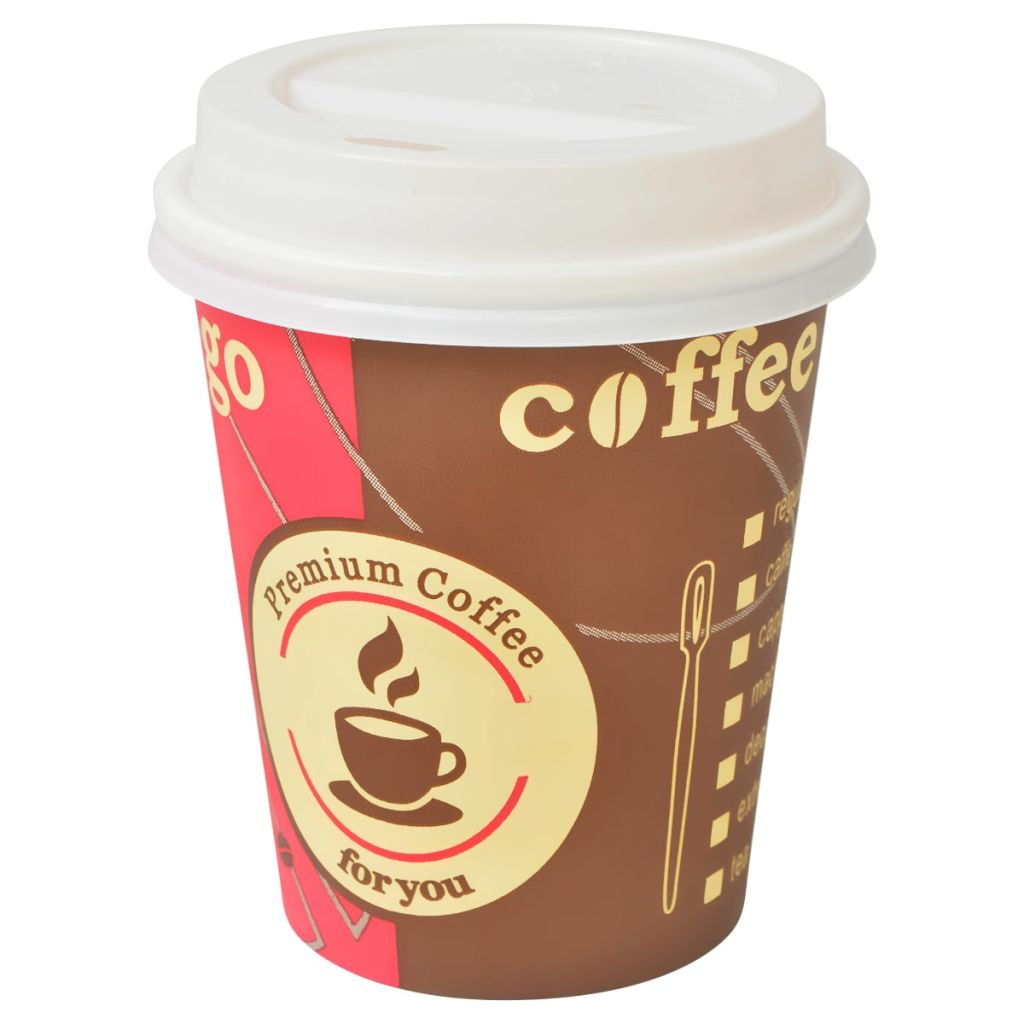 1000 pcs Disposable Coffee Cups with Lids 240 ml (8 oz)