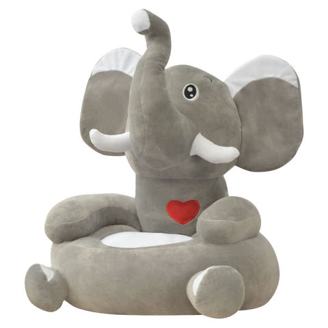 Plush Children's Chair Elephant Grey