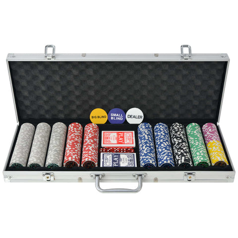 Poker Set with 500 Laser Chips Aluminium