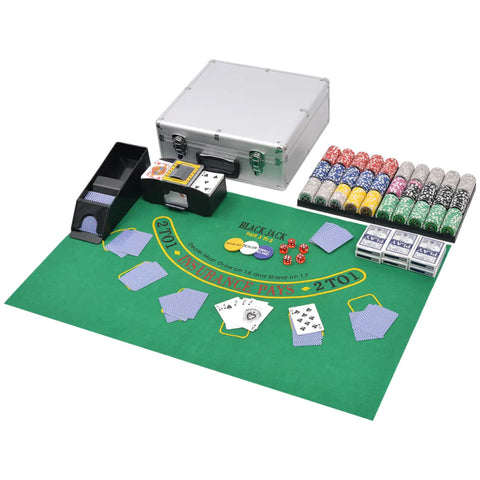 Combine Poker/Blackjack Set with 600 Laser Chips Aluminium
