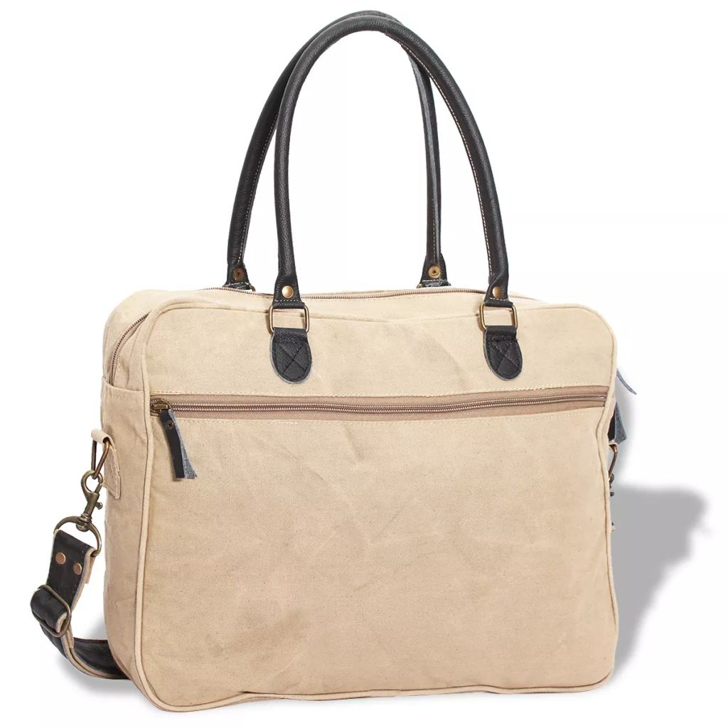 Hand Bag Canvas Real Leather with Star Beige
