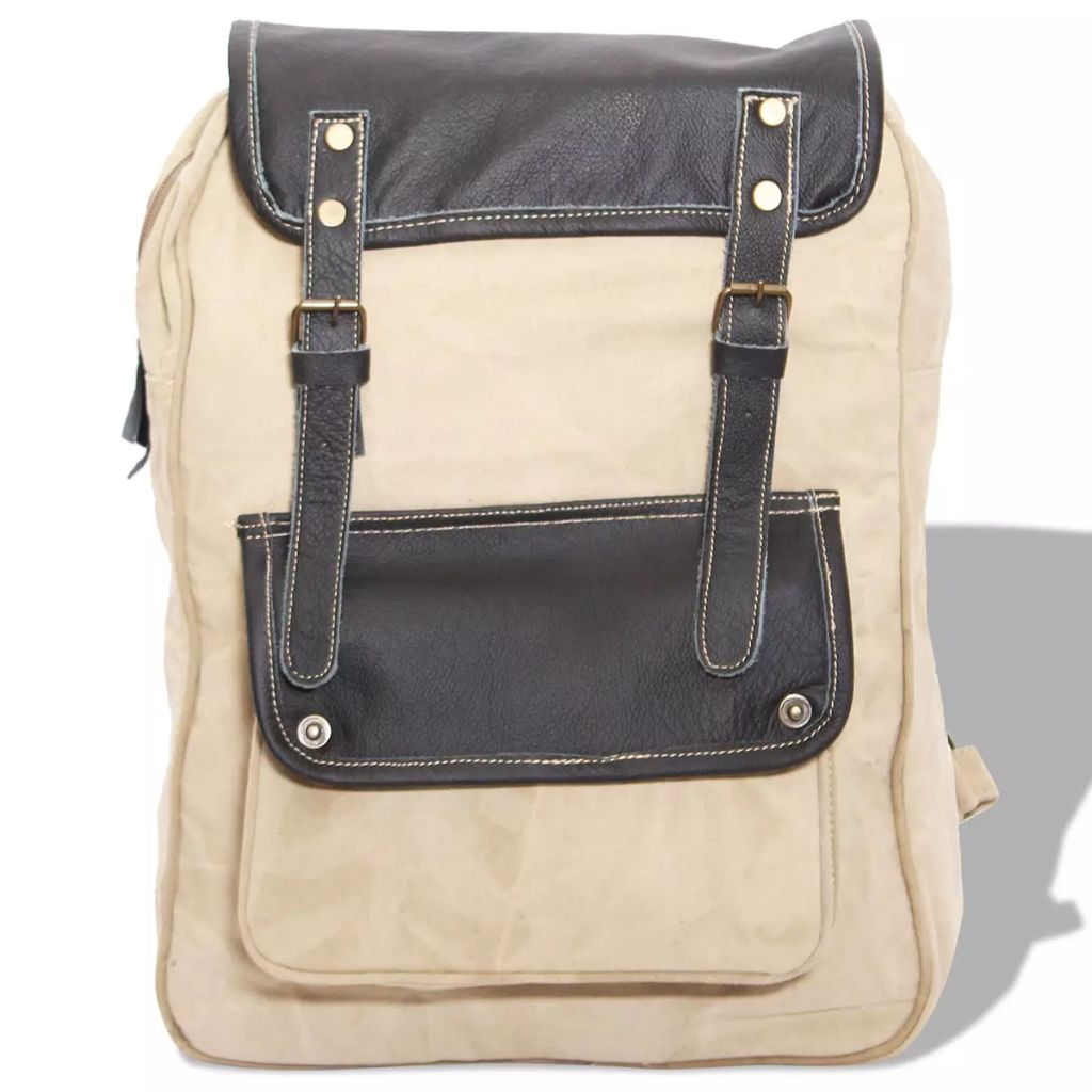 Backpack Canvas and Real Leather Beige