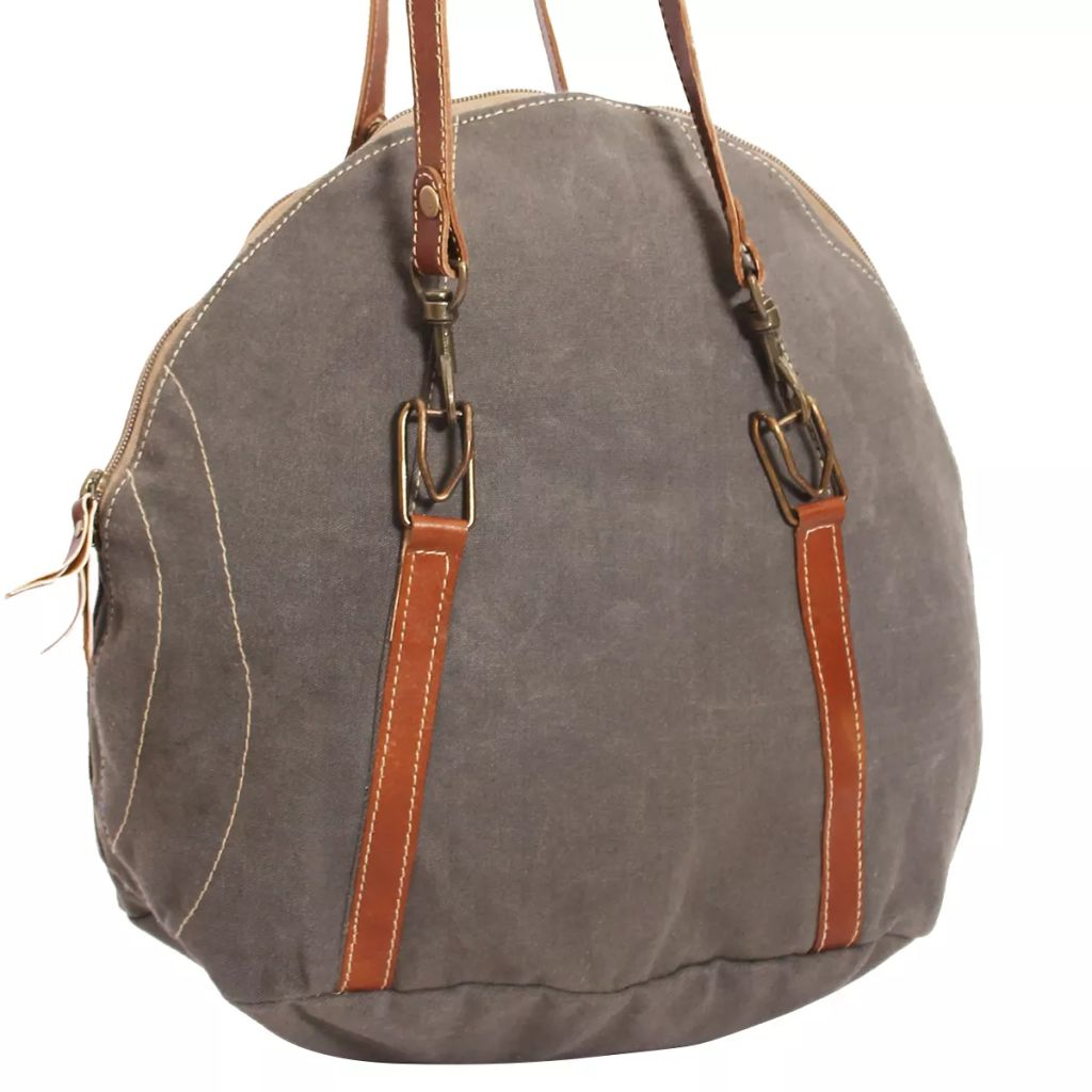 Hand Bag Canvas and Real Leather Grey