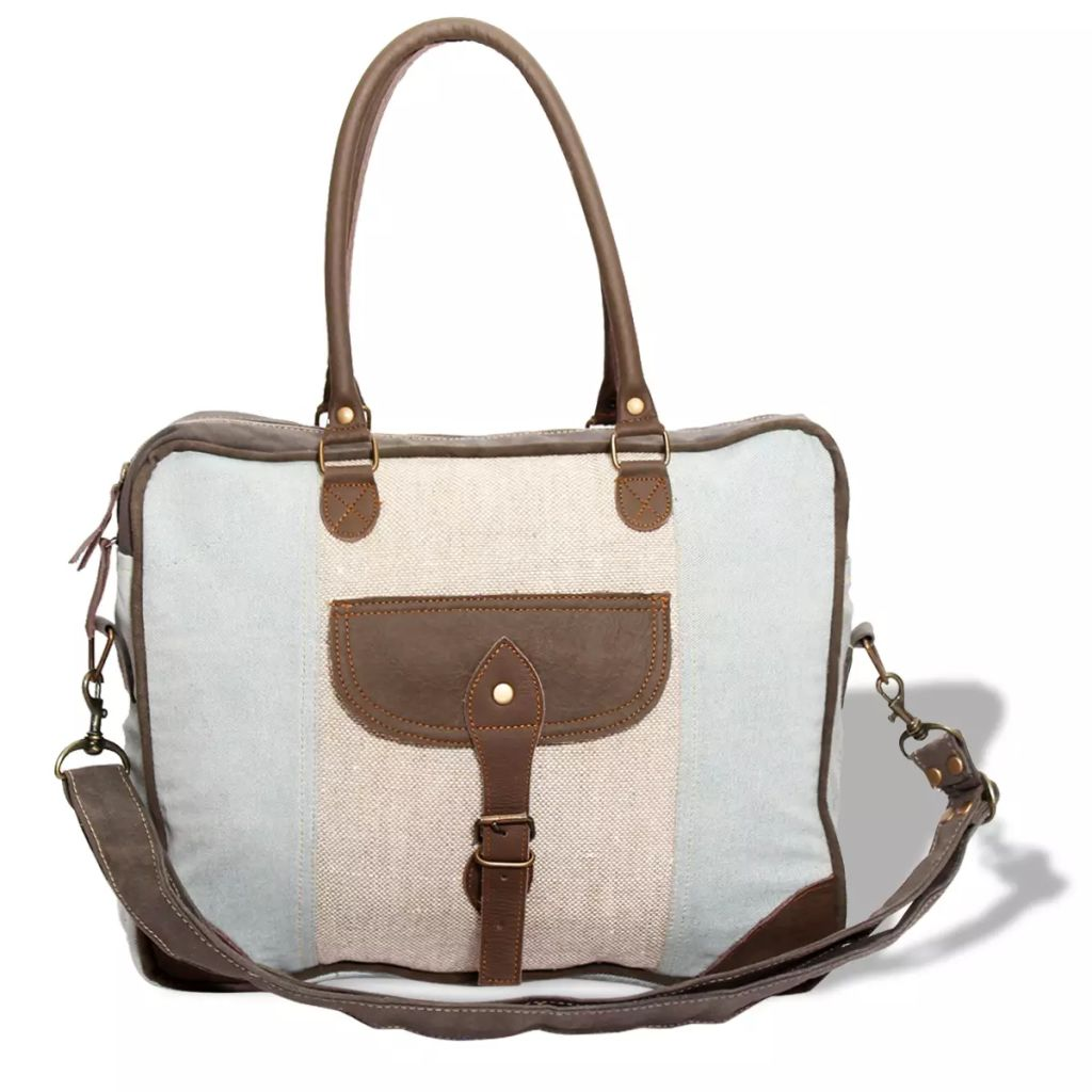 Shoulder Bag Canvas and Real Leather Blue and Cream