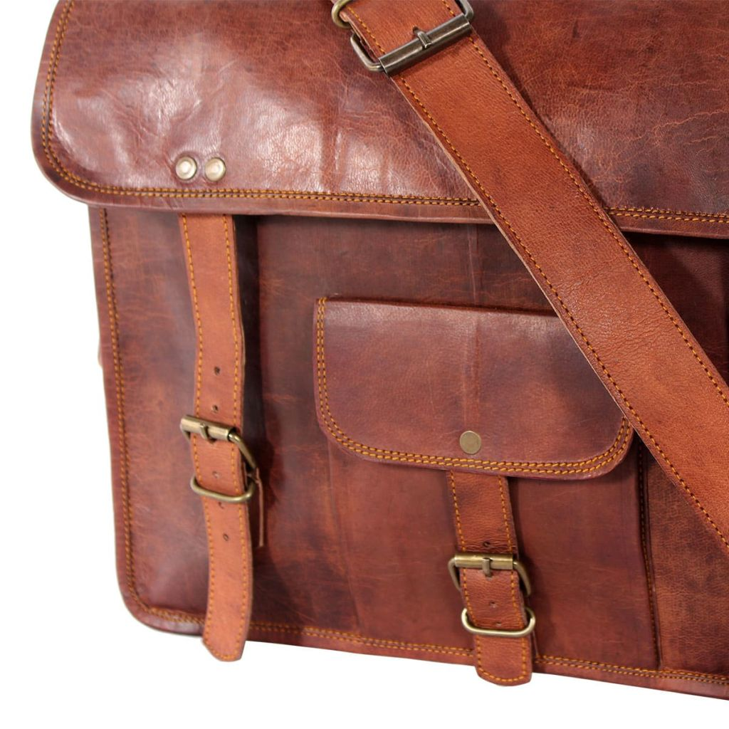 Shoulder Bag Real Leather Brown for 15 inch Laptop