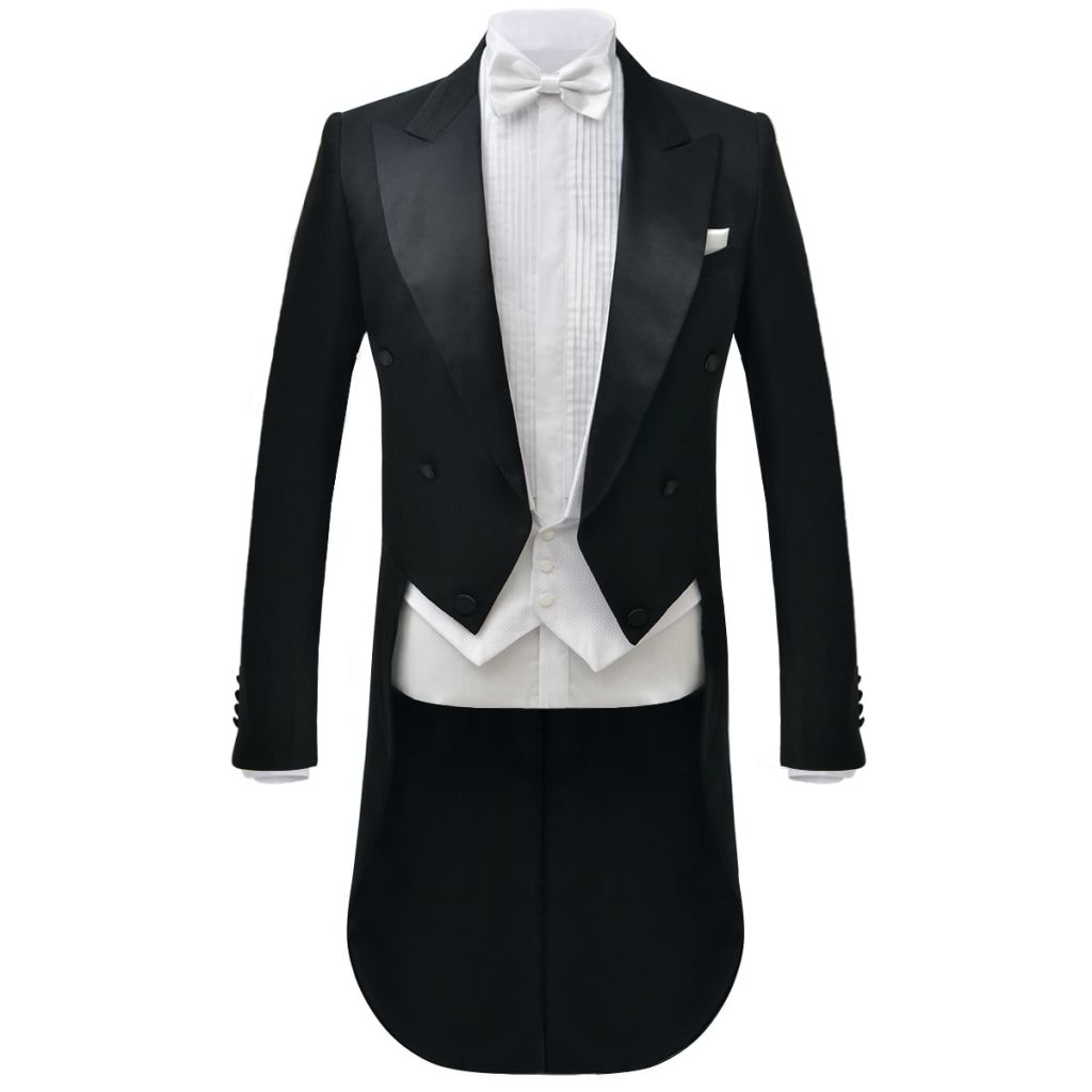 Men's Two Piece White Tie Dress Suit Black Size 46