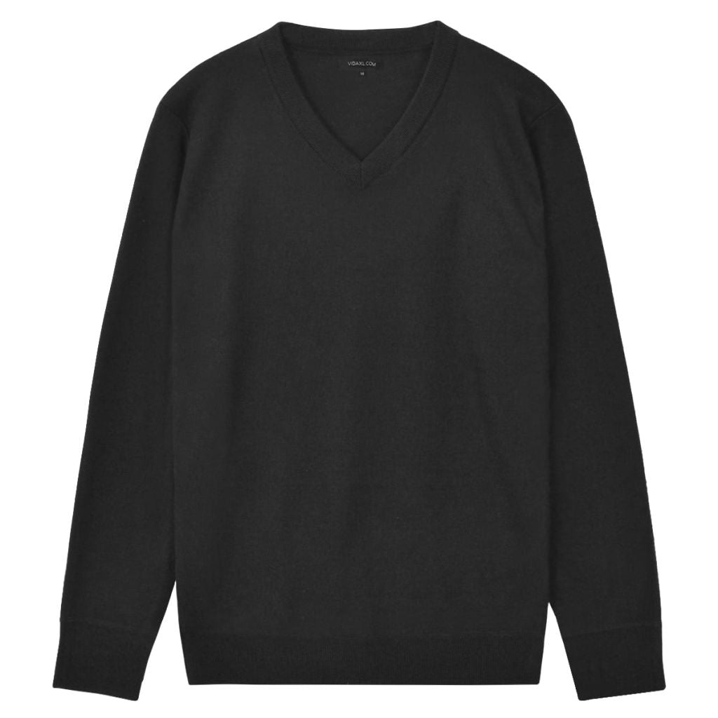 Men's Pullover Sweater V-Neck Black L
