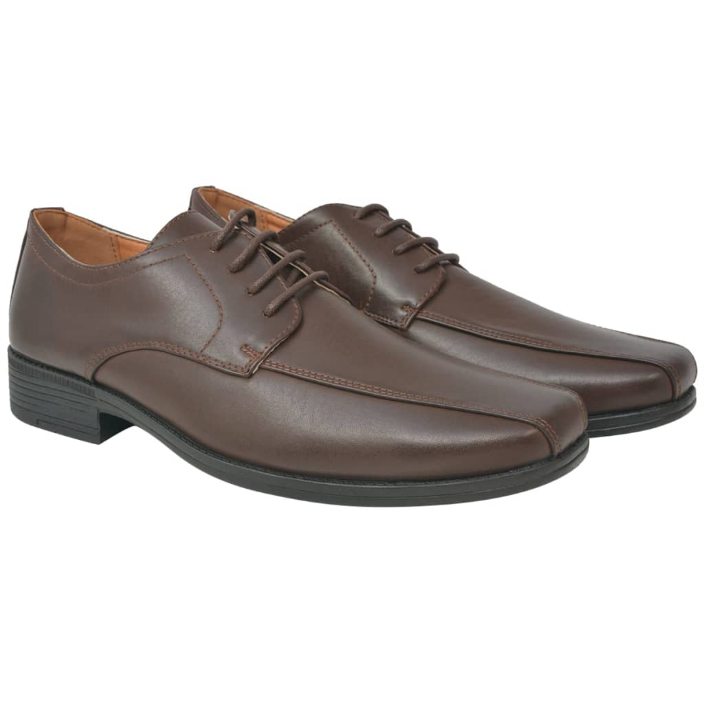 Men's Business Shoes Lace-Up Brown Size 8.5 PU Leather