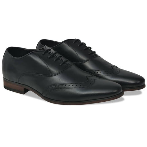 Men's Lace-Up Brogues Black Size 7.5 PU Leather