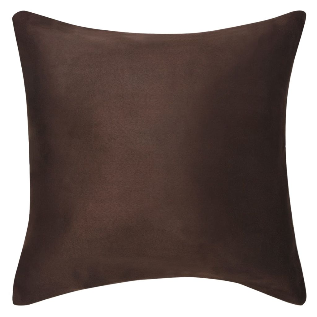 Cushion Covers 4 pcs 40x40 cm Polyester Faux Suede Brown