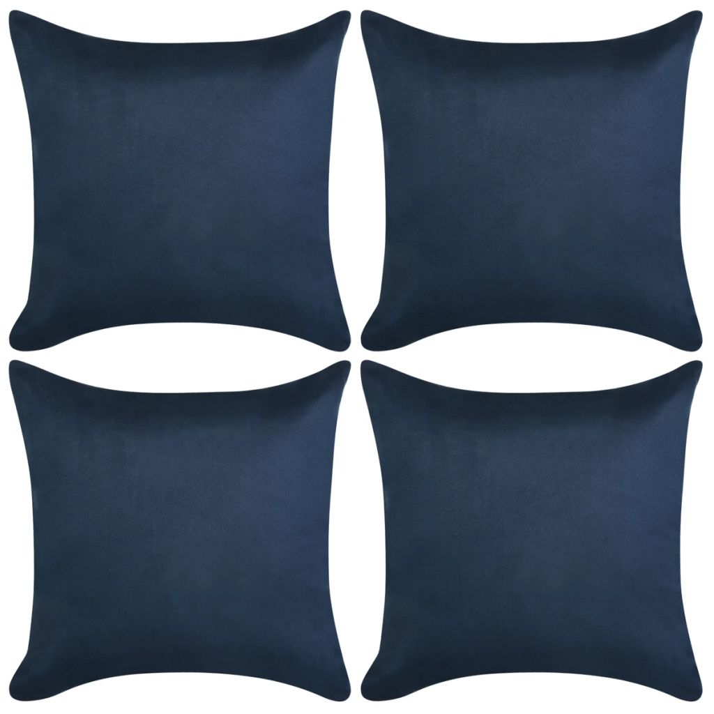 Cushion Covers 4 pcs 40x40 cm Polyester Faux Suede Navy