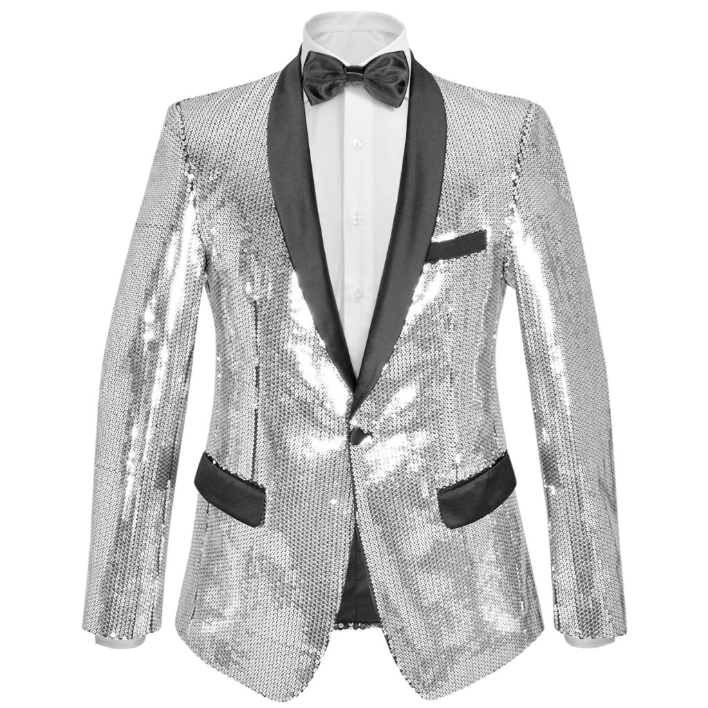 Men's Sequin Dinner Jacket Tuxedo Blazer Silver Size 50