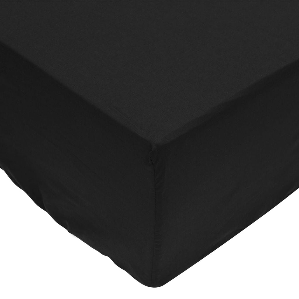 Fitted Sheets 2 pcs 160x200 cm Cotton Black