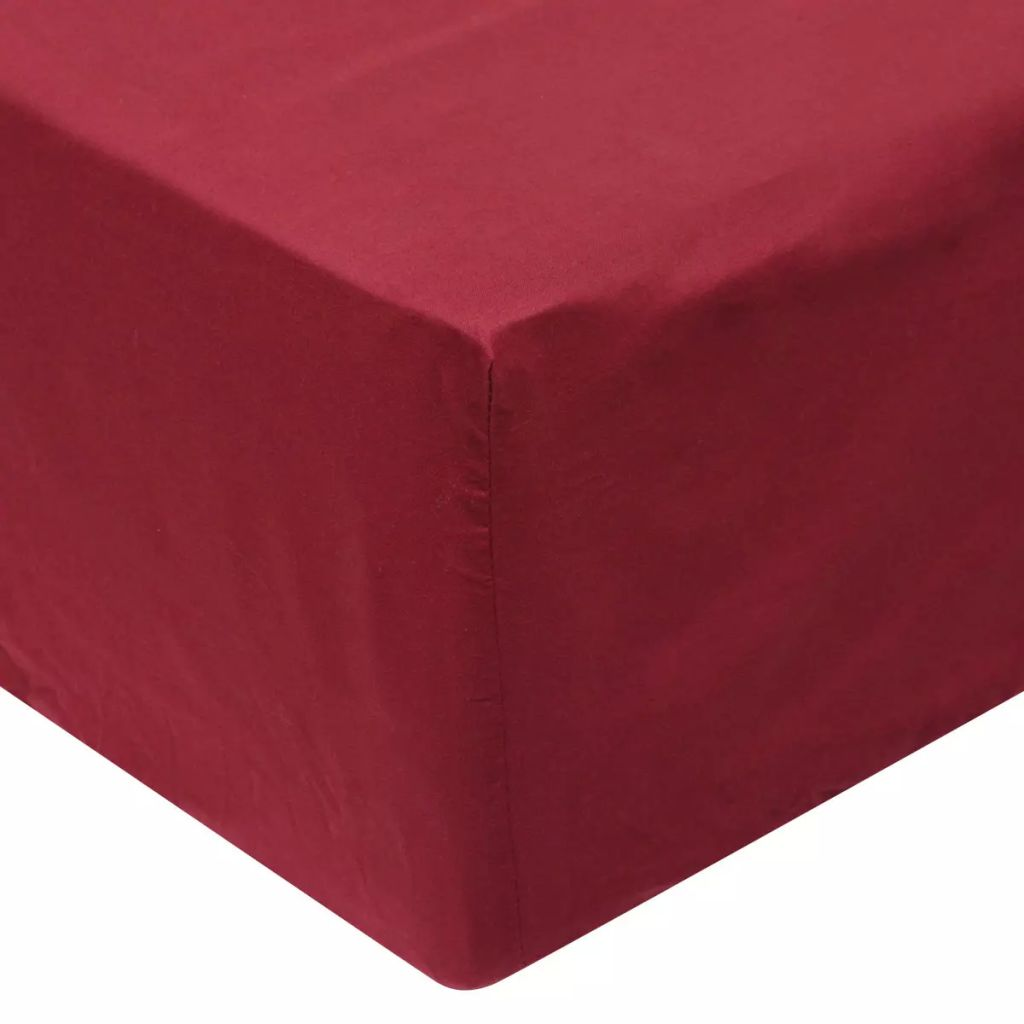 Fitted Sheets 2 pcs 200x220 cm Cotton Burgundy