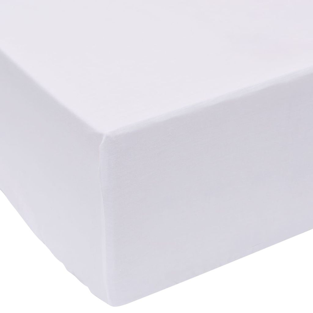 Fitted Sheets 2 pcs 160x200 cm Cotton White