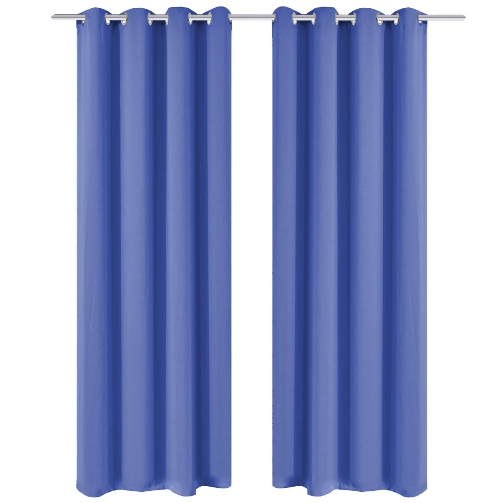 Blackout Curtains 2 pcs with Metal Eyelets 135x245 cm Blue
