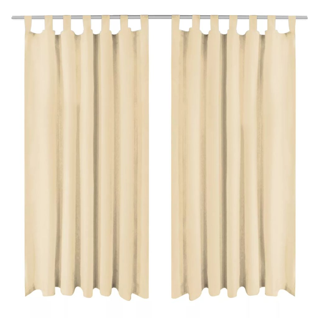Micro-Satin Curtains 2 pcs with Loops 140x175 cm Beige