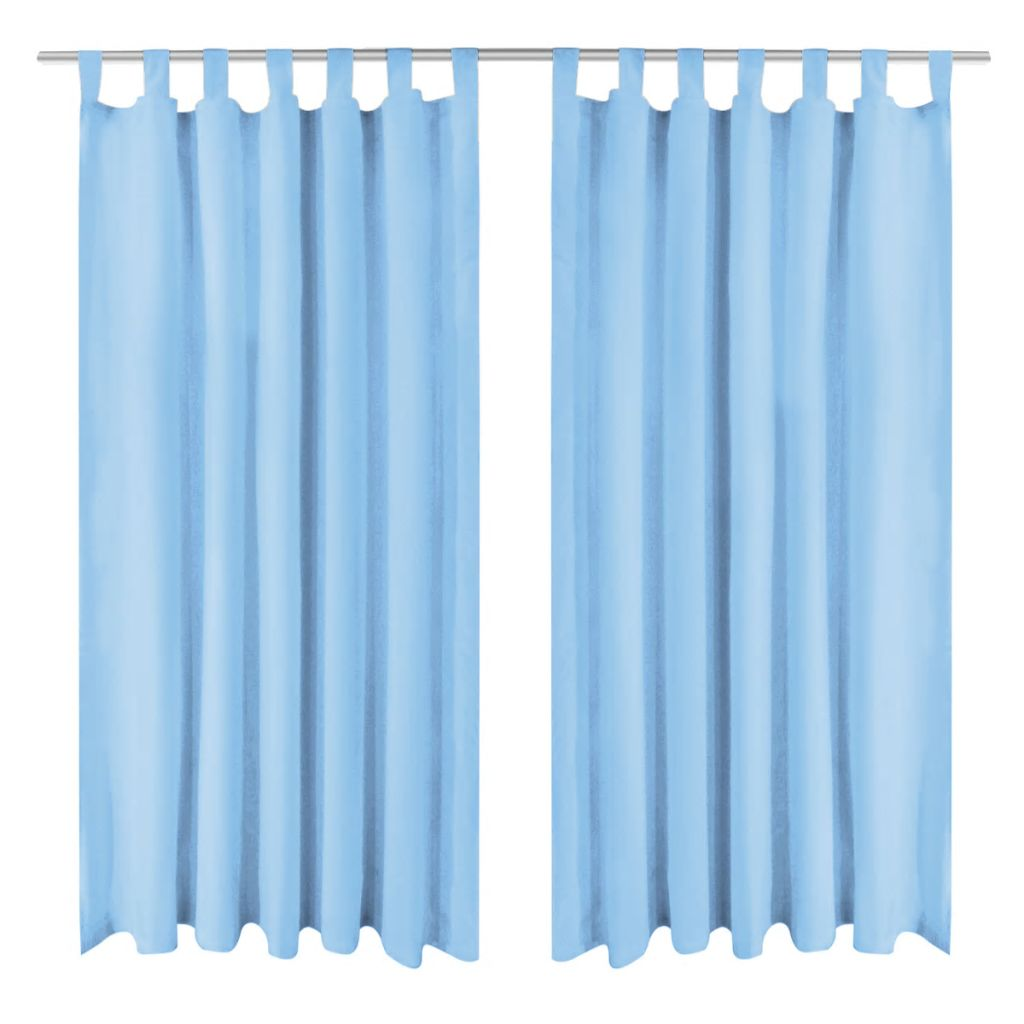 Micro-Satin Curtains 2 pcs with Loops 140x245 cm Turquoise