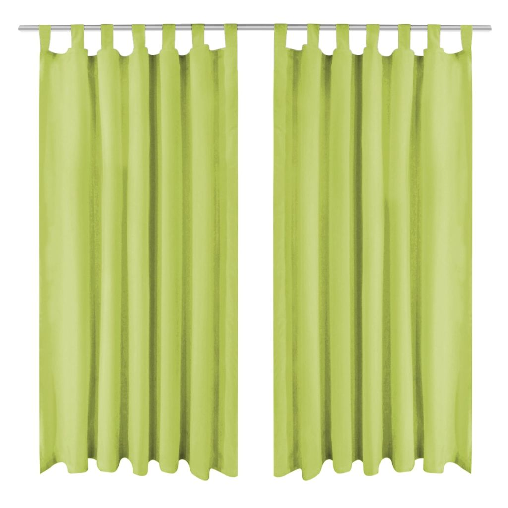 Micro-Satin Curtains 2 pcs with Loops 140x225 cm Green