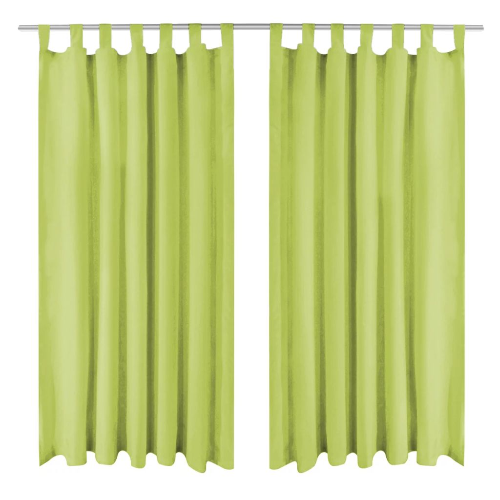 Micro-Satin Curtains 2 pcs with Loops 140x245 cm Green