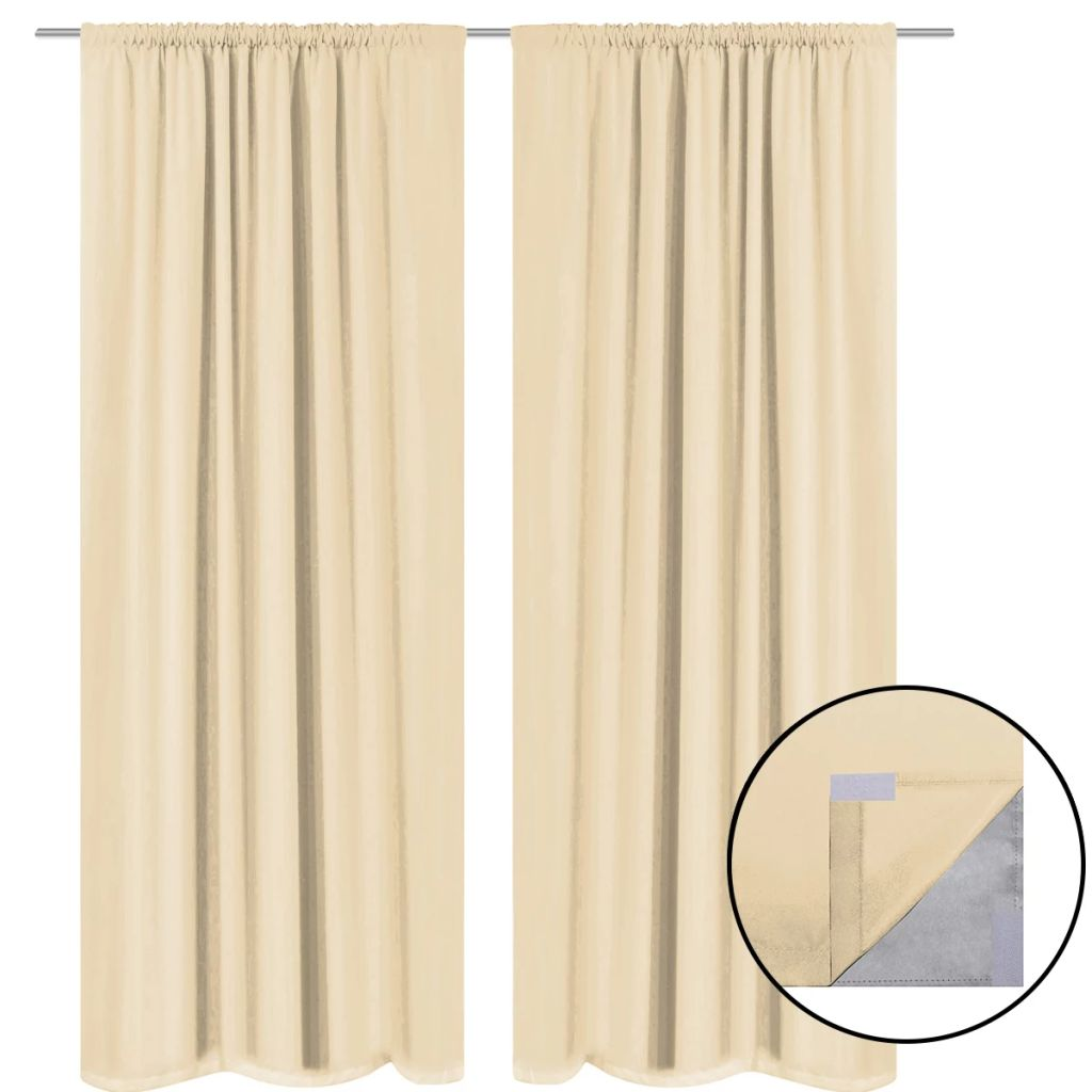 Blackout Curtains 2 pcs Double Layer 140x175 cm Beige