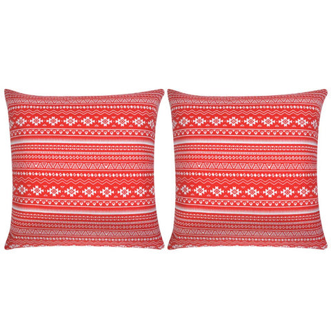 Pillow Covers 2 pcs Canvas Aztec Printed Red 80x80 cm