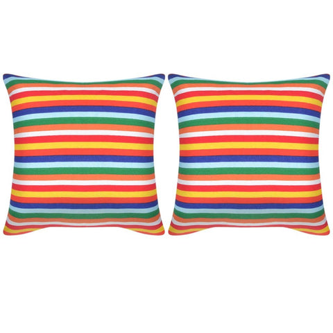 Pillow Covers 2 pcs Canvas Print with Narrow Stripes 80x80 cm