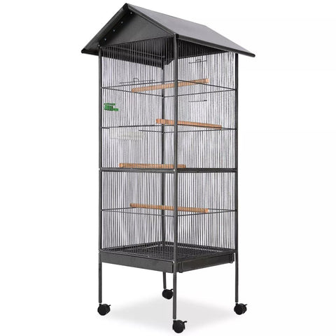 Bird Cage with Roof Black 66x66x155 cm Steel