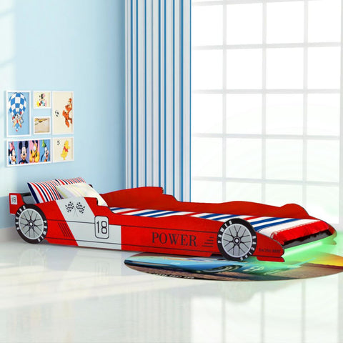 Children's LED Race Car Bed 90x200 cm Red
