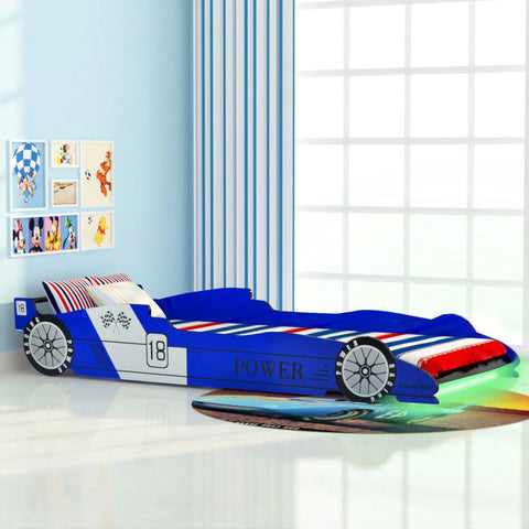 Children's LED Race Car Bed 90x200 cm Blue