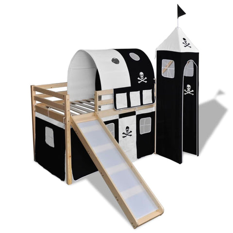 Children's Loft Bed with Slide & Ladder Wood Black and White