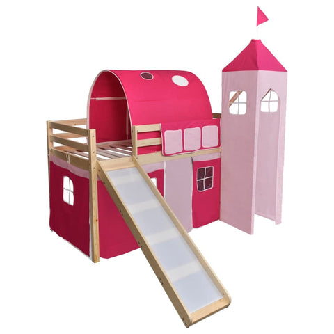 Children's Loft Bed with Slide & Ladder Wood Pink