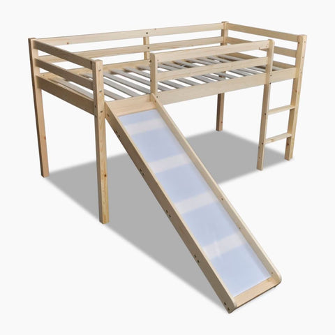 Children's Loft Bed with Slide & Ladder Wood Natural