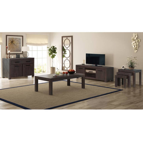 6 Piece Living Room Furniture Set Solid Acacia Wood Smoke Look
