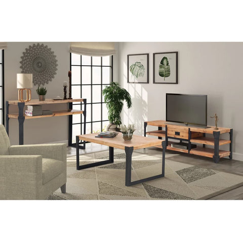 Three Piece Living Room Furniture Set Solid Acacia Wood