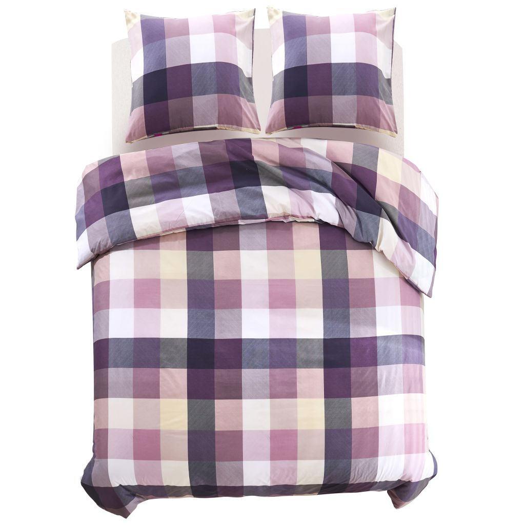Duvet Cover Set Purple Checkered Print 200x200/60x70 cm
