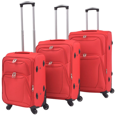 3 Piece Soft Case Trolley Set Red