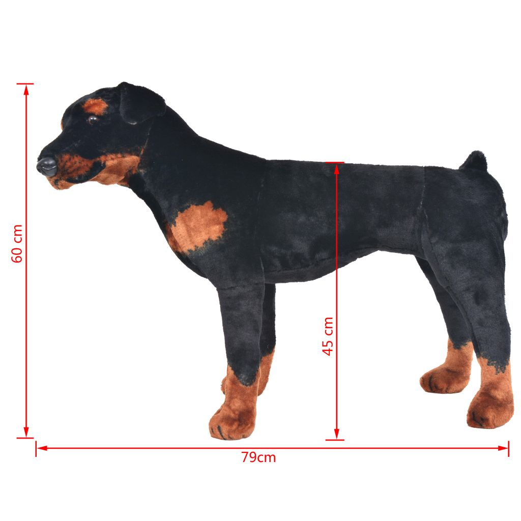 Standing Plush Toy Rottweiler Dog Black and Brown XXL