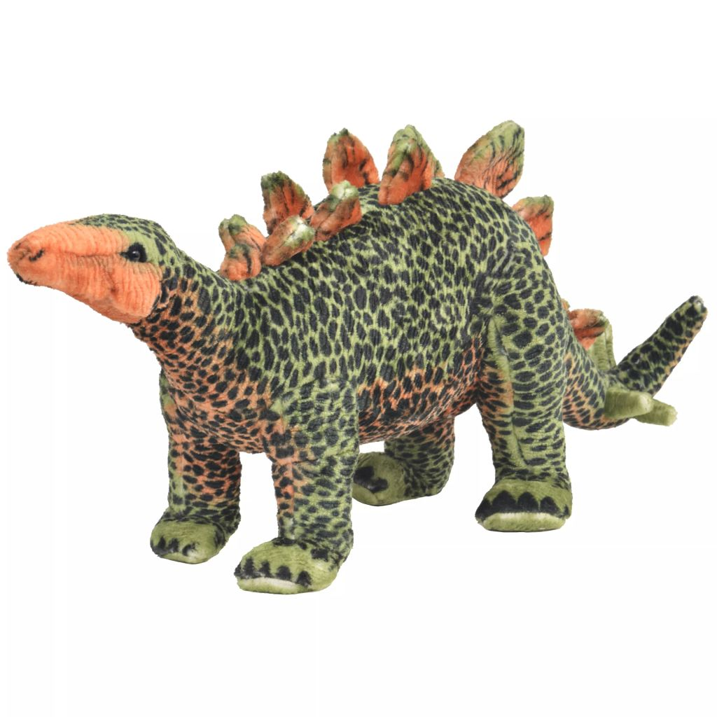 Standing Plush Toy Stegosaurus Dinosaur Green and Orange XXL