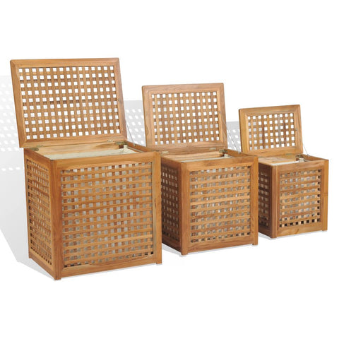 Laundry Box Set 3 Pieces Teak