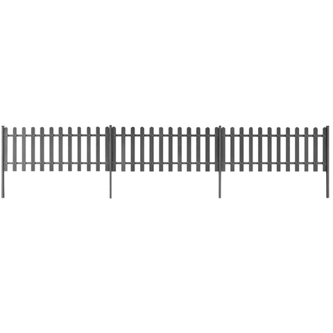 Picket Fence with Posts 3 pcs WPC 600x60 cm