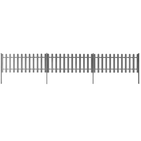 Picket Fence with Posts 3 pcs WPC 600x80 cm