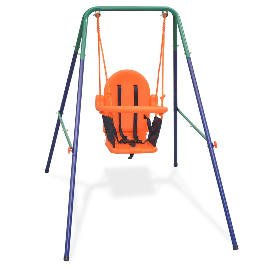 Toddler Swing Set with Safety Harness Orange