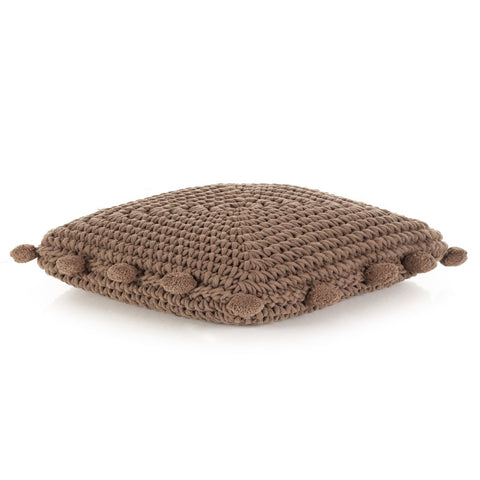 Floor Cushion Square Knitted Cotton 50x50 cm Brown
