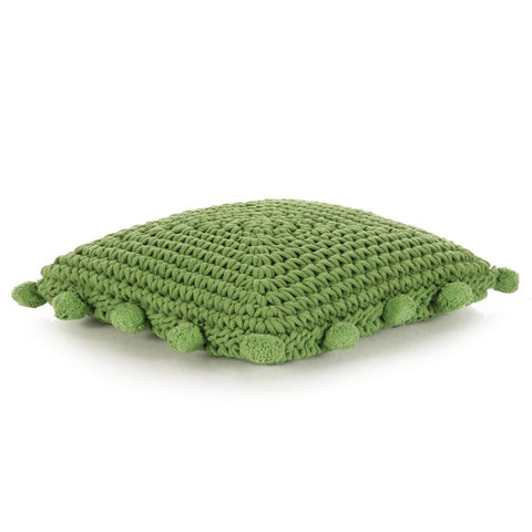 Floor Cushion Square Knitted Cotton 50x50 cm Green