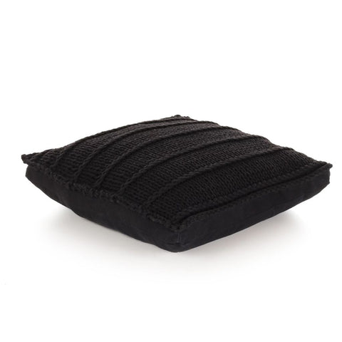 Floor Cushion Square Knitted Cotton 60x60 cm Black