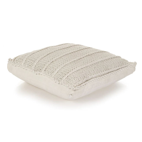 Floor Cushion Square Knitted Cotton 60x60 cm White
