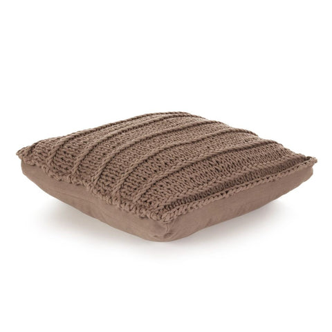 Floor Cushion Square Knitted Cotton 60x60 cm Brown